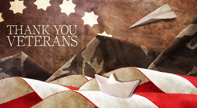 Thank you Veterans on patriotic background