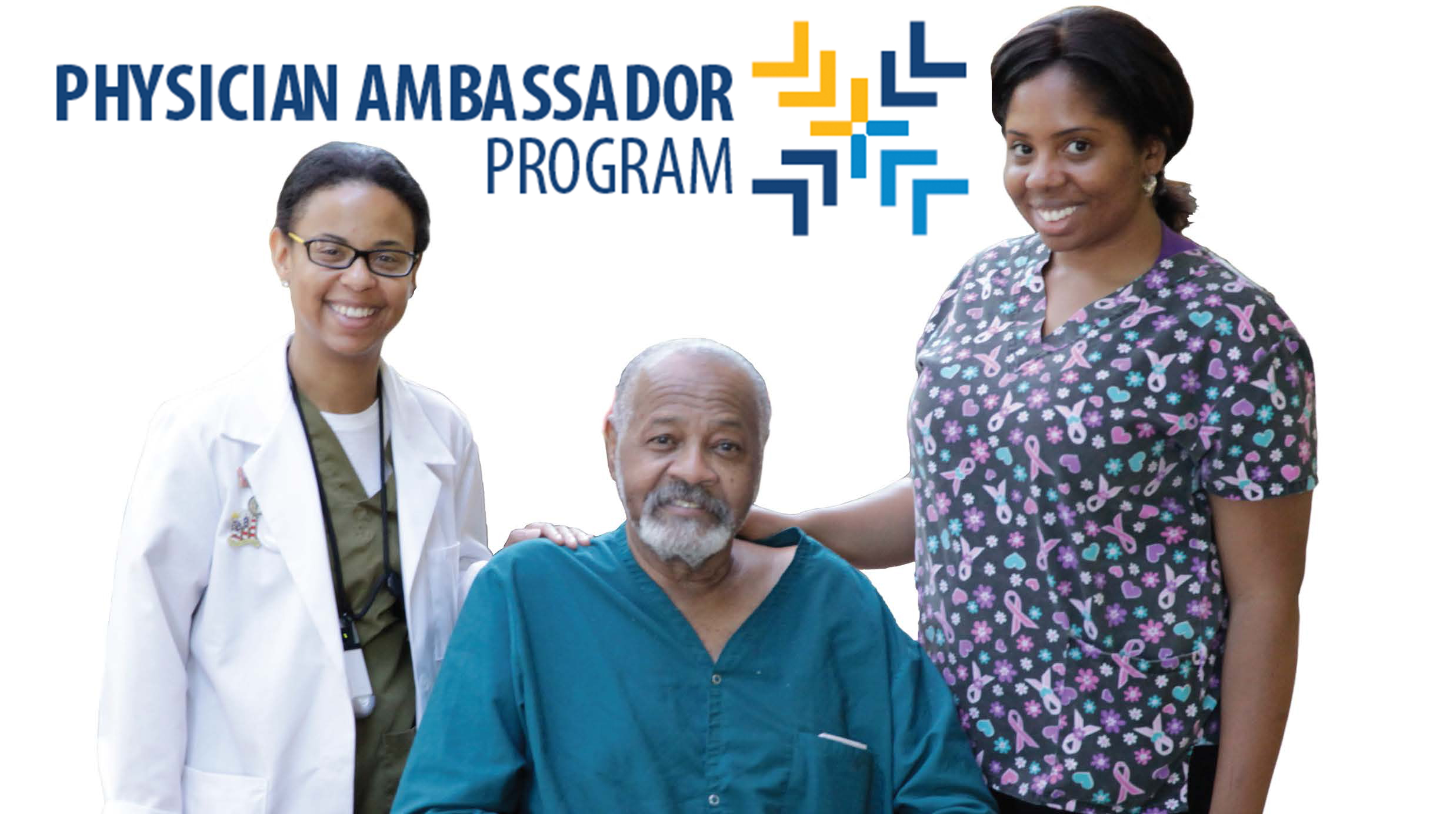 program logo with physician and nurse with patient